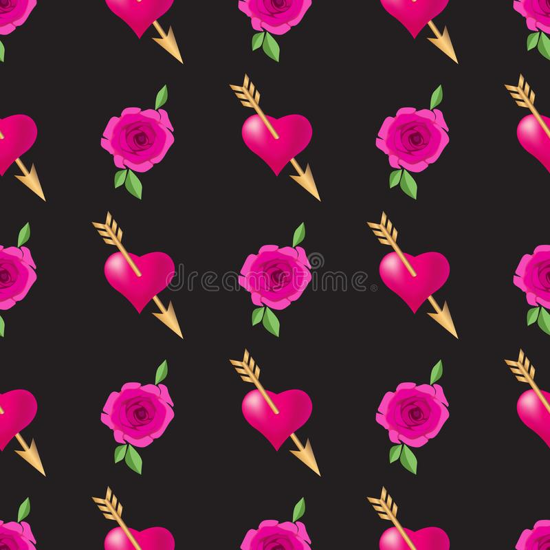 Seamless pattern background with hearts pierced by golden arrows and roses. Valentines Day holidays typography. Vector EPS10 royalty free illustration