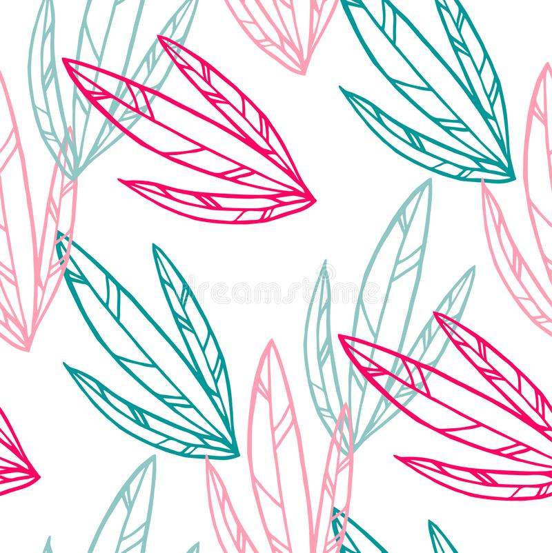 Seamless pattern and background for packaging organic, healthy and vegan food. Linear plants pattern vector. Seamless pattern and background for packaging royalty free illustration