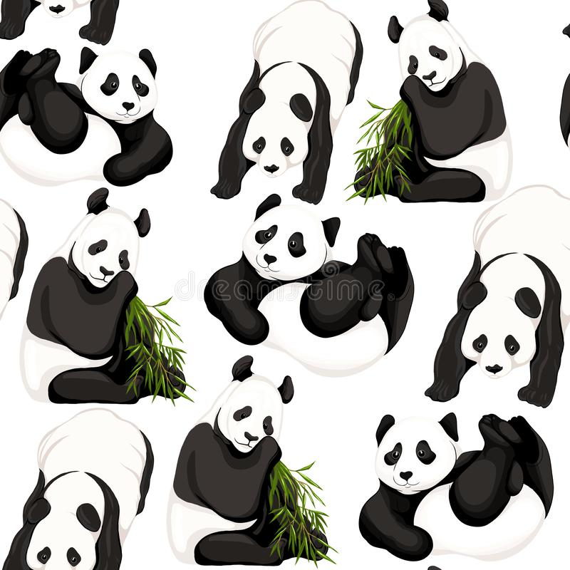 Seamless pattern, background. with pandas and bamboo. vector illustration