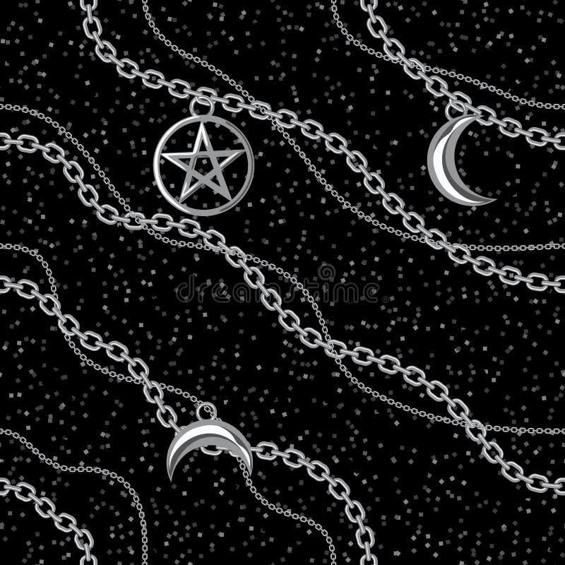 Seamless pattern background with pentagram and moon pendants on silver metallic chain. On black. Vector illustration vector illustration
