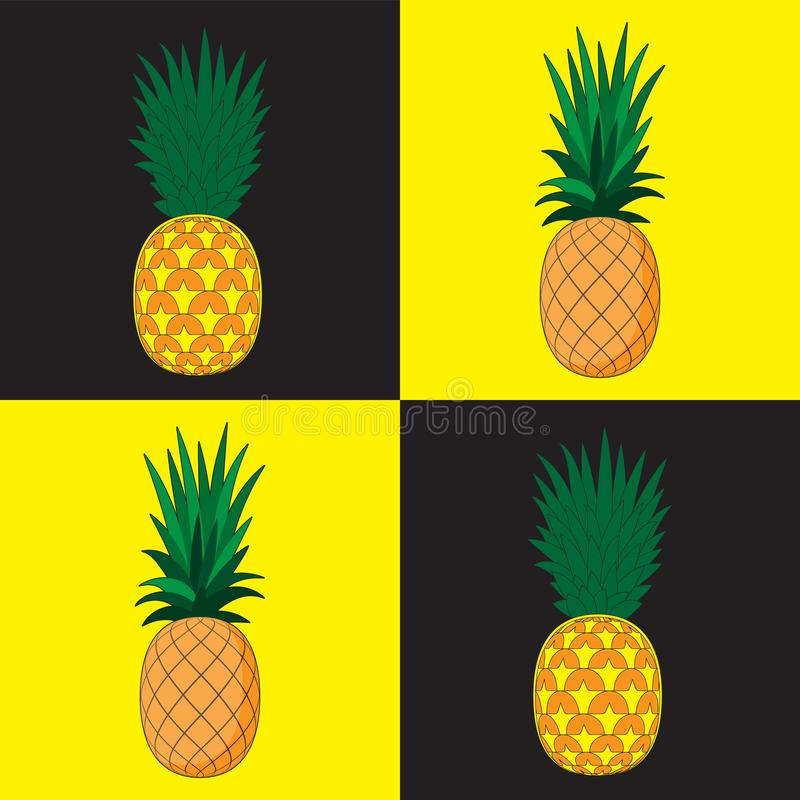Seamless pattern background. Pineapple in the background the dice black yellow. Print design paper cloth banner. Vector image. Eps 10 vector illustration