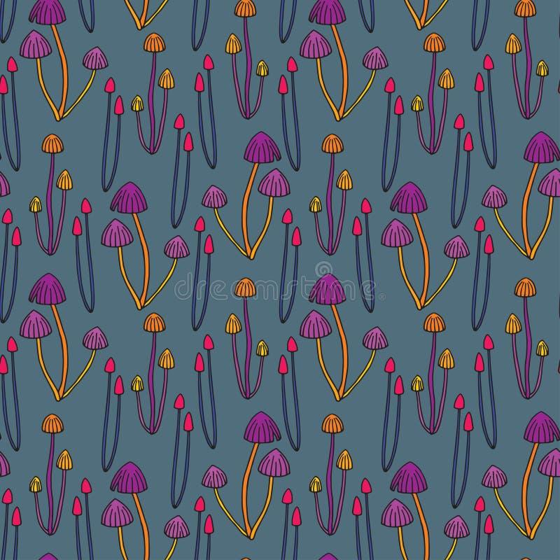 Seamless pattern background poisonous mushrooms stock illustration