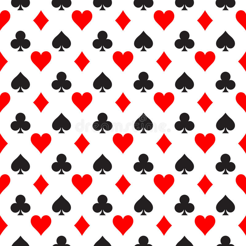 Seamless pattern background of poker suits - hearts, clubs, spades and diamonds - arranged in the rows on white stock illustration