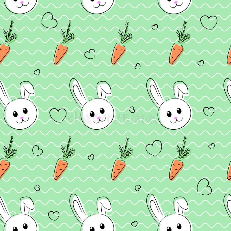 Seamless pattern, background with rabbits and carrots for easter and other holidays. White rabbit with orange carrot. vector illustration