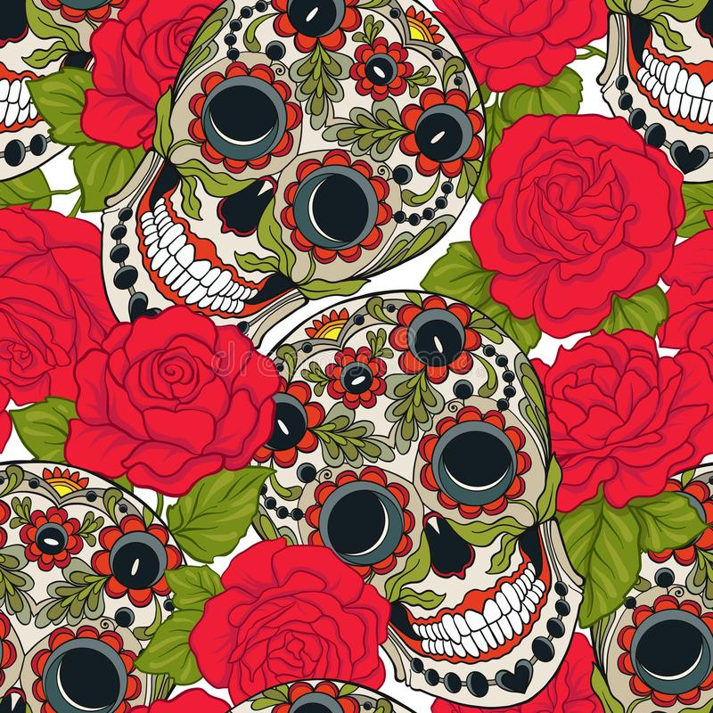 Seamless pattern, background with sugar skull and red roses. Stock vector illustration.rr stock illustration