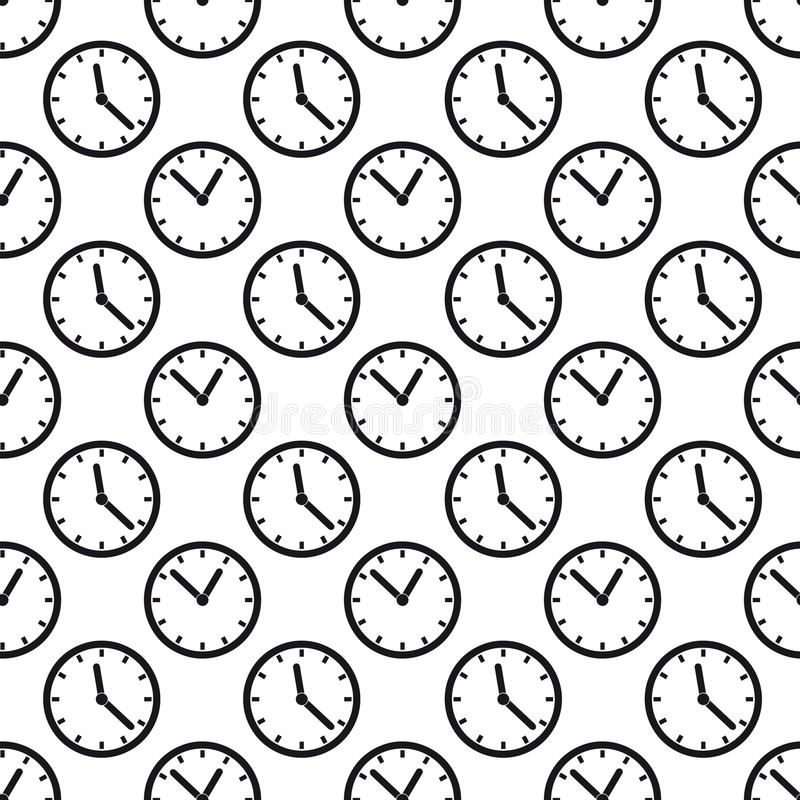 Seamless Pattern Background - Time Clock Vector - Isolated On White Background royalty free illustration