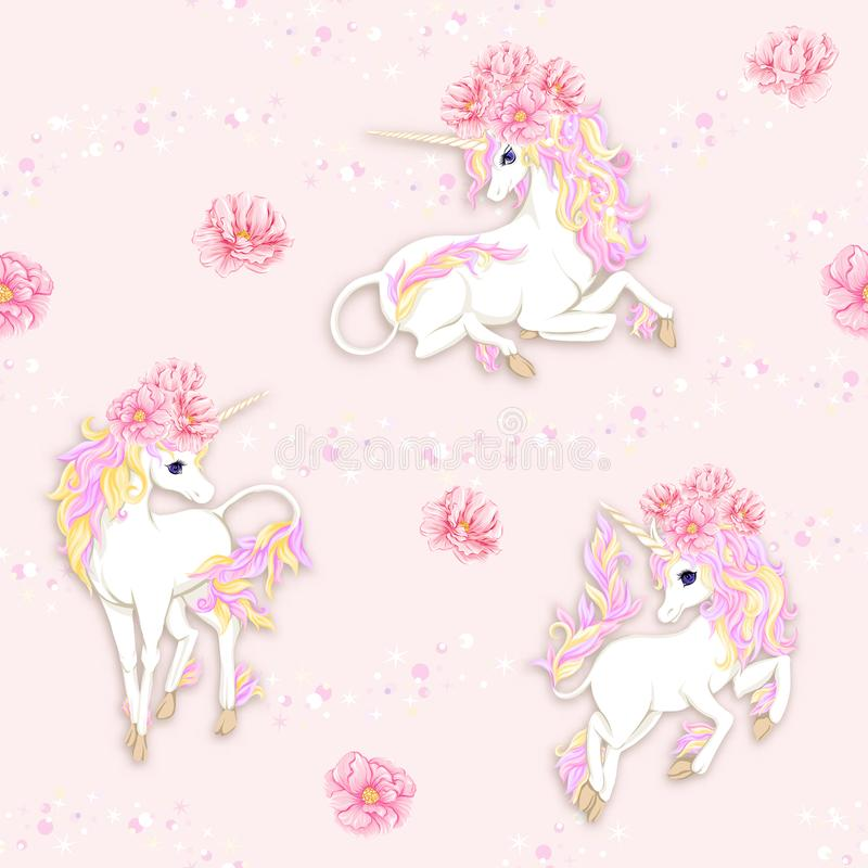 Seamless pattern, background with unicorn and vintage flowers. Vector illustration. vector illustration
