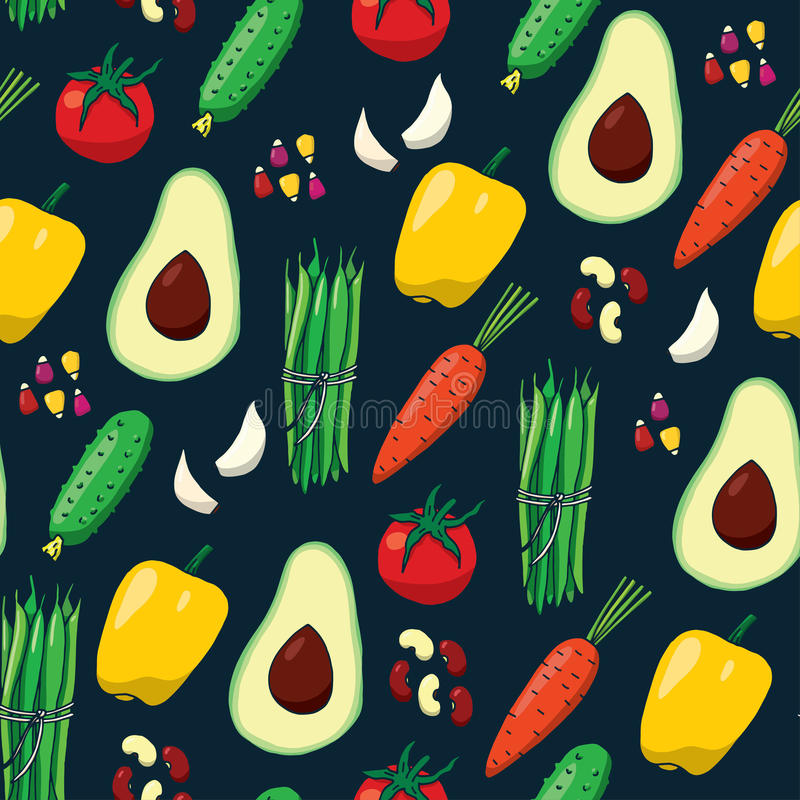 Seamless pattern background with vegetables royalty free illustration