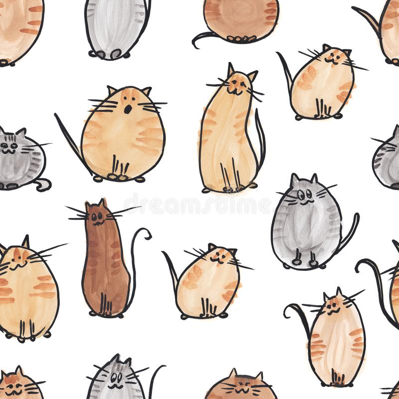 Seamless pattern background with watercolor cats. endless illustration. royalty free stock photography