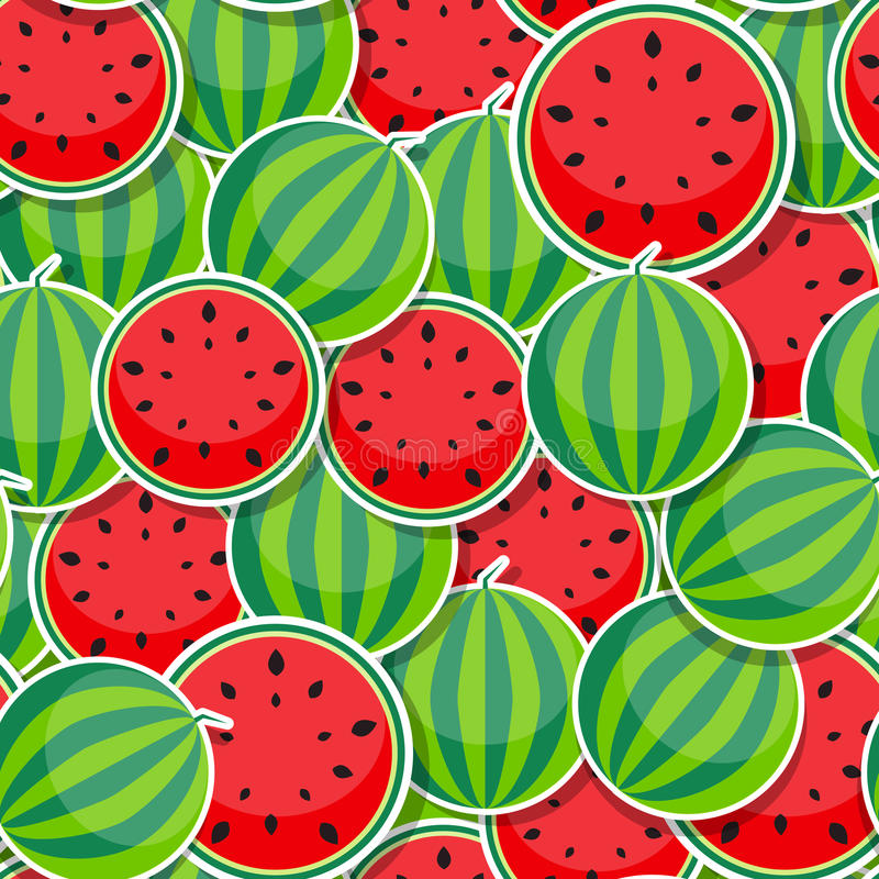 Seamless Pattern Background from Watermelon stock illustration