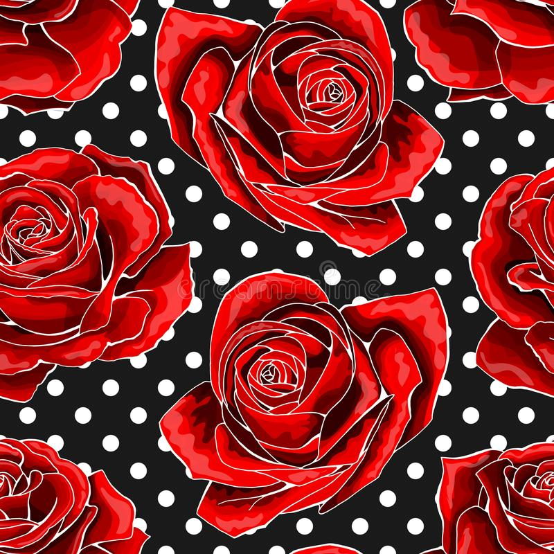 Seamless pattern, background with red outlined roses, on polka dots background. Seamless pattern, background with white outlined red roses, on black background royalty free illustration