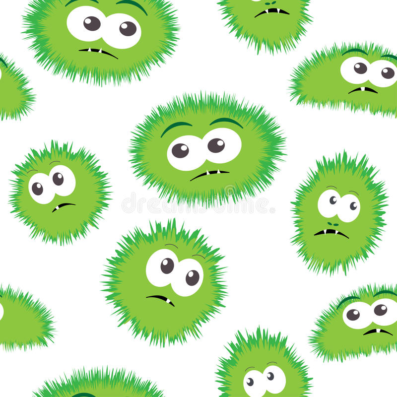 Seamless pattern bacteria with monster face. Vector background with cartoon funny germs, cute monsters royalty free illustration