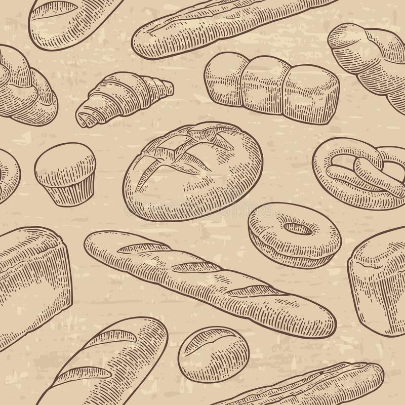 Seamless Pattern for bakery. Vector black hand drawn vintage engraving. Seamless Pattern with Bread. Vector black hand drawn vintage engraving illustration for royalty free illustration