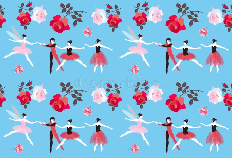Seamless pattern with ballet dancers, beautiful fairy and roses on a sky blue background. Vector illustration. Romantic design. stock illustration