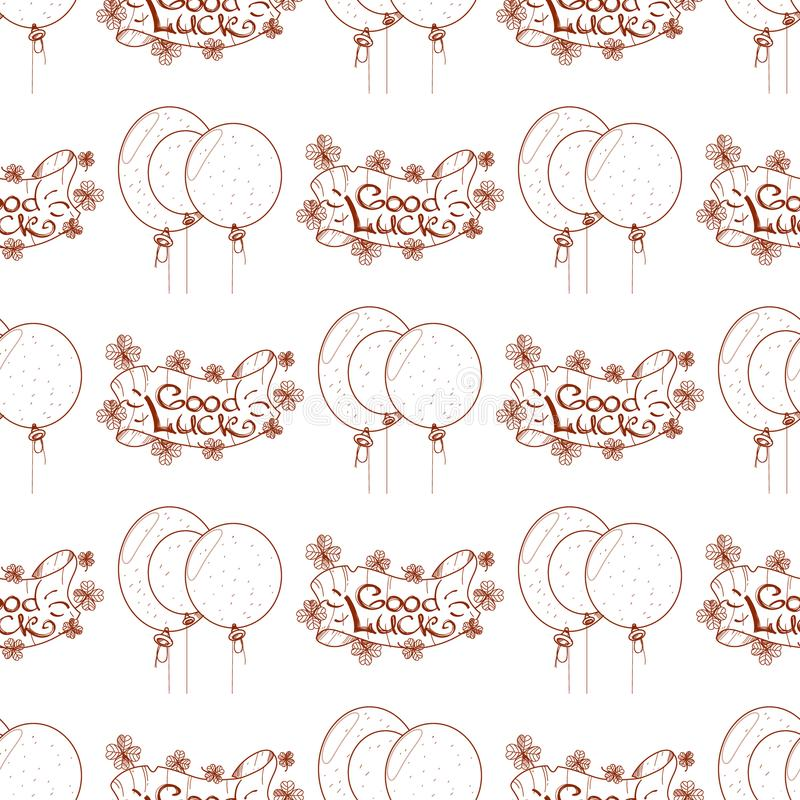 Seamless pattern with balloons and banner of good luck.  vector illustration