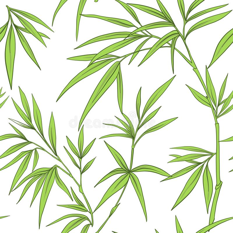 Seamless pattern with bamboo leaves and branches vector illustration