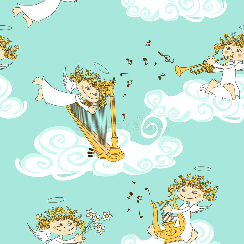 Seamless pattern of band of angels stock illustration