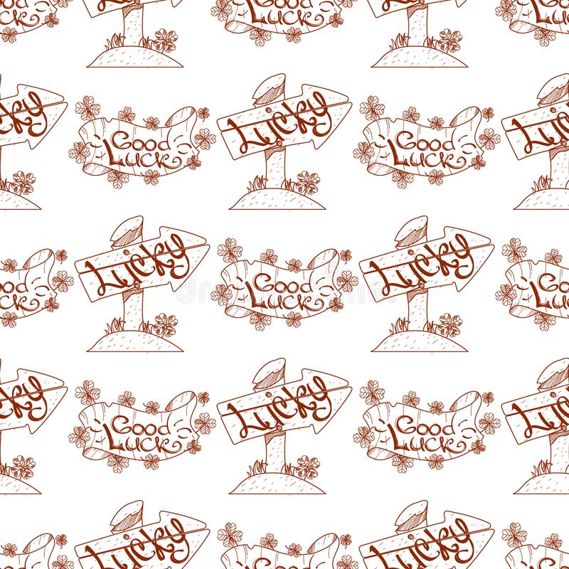 Seamless pattern with a banner and a pointer, sign of good luck.  vector illustration