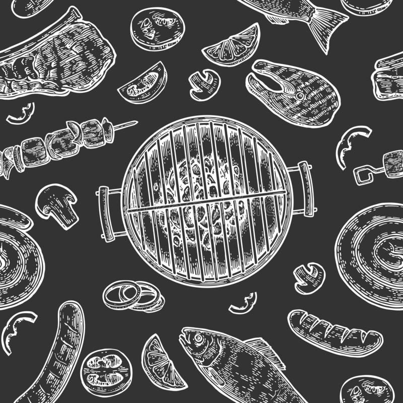 Seamless pattern barbecue grill. Top view charcoal, sausage, fish, steak. royalty free illustration