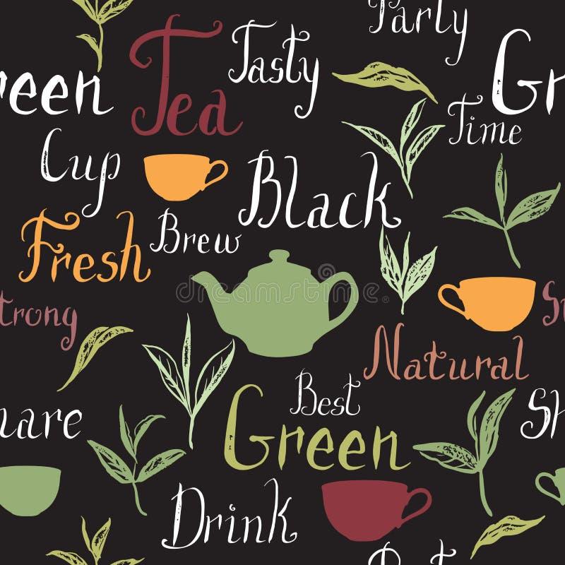 Seamless pattern based on ink painted tea leaves and text. Seamless pattern based on ink painted tea leaves, branches and tea related hand painted words. Brush stock illustration
