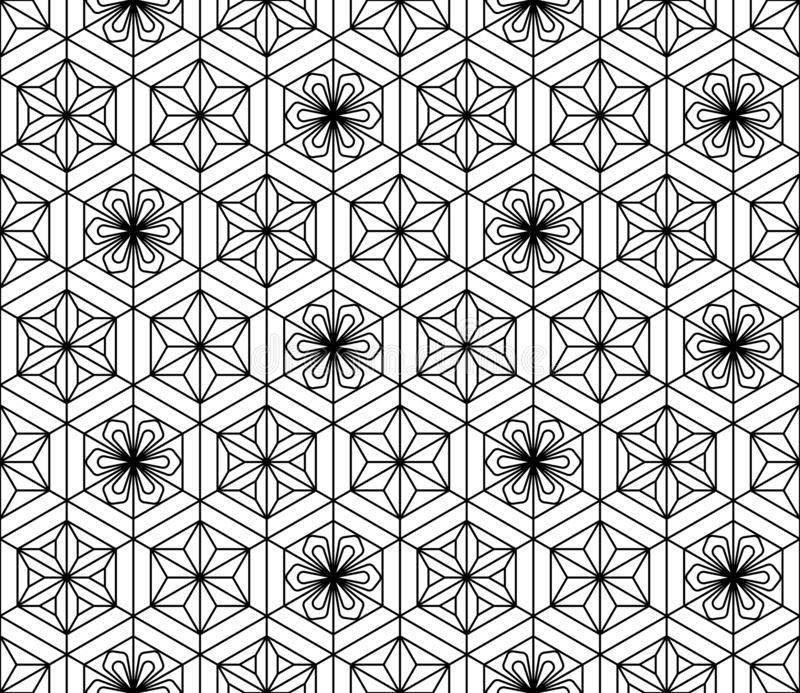 Seamless pattern based on Japanese geometric ornament .Black and white. Seamless pattern based on Japanese geometric ornament.Black and white silhouette.Compound royalty free illustration