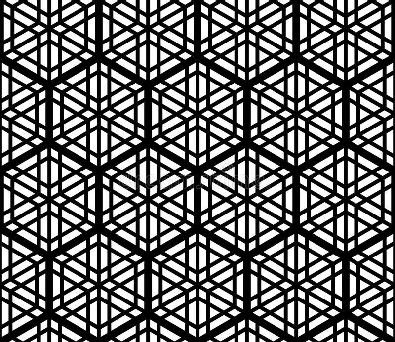 Seamless pattern based on traditional Japanese ornament Kumiko,accented with a hexagon in black and white royalty free illustration
