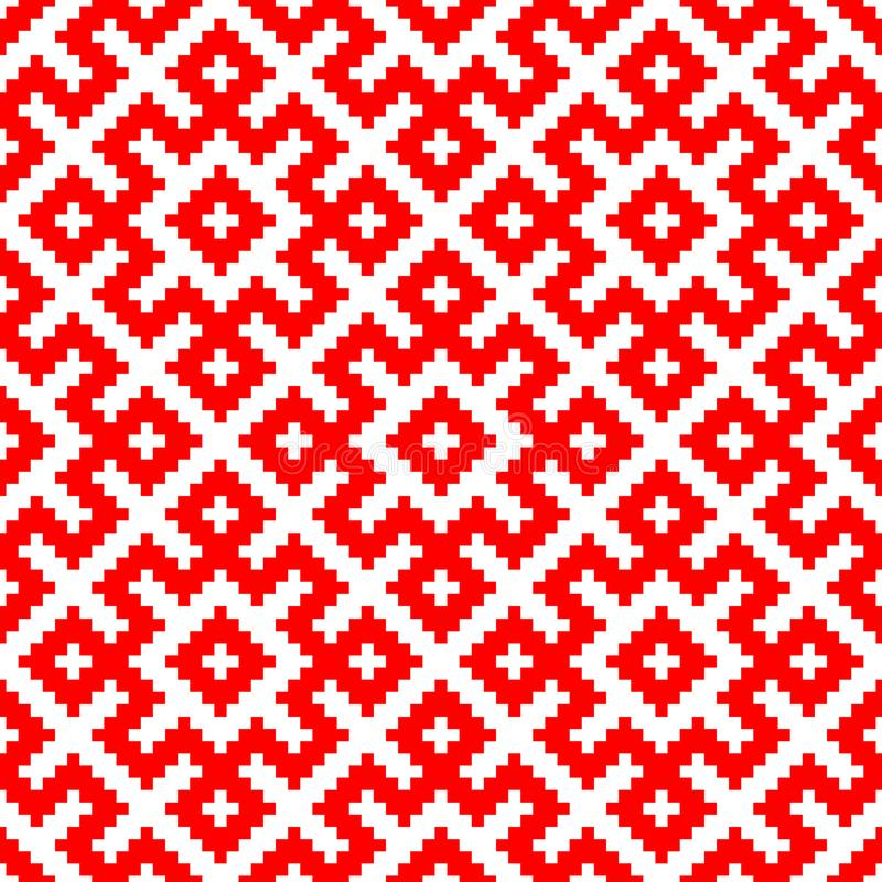 Seamless pattern based on traditional Russian and slavic ornament stock illustration