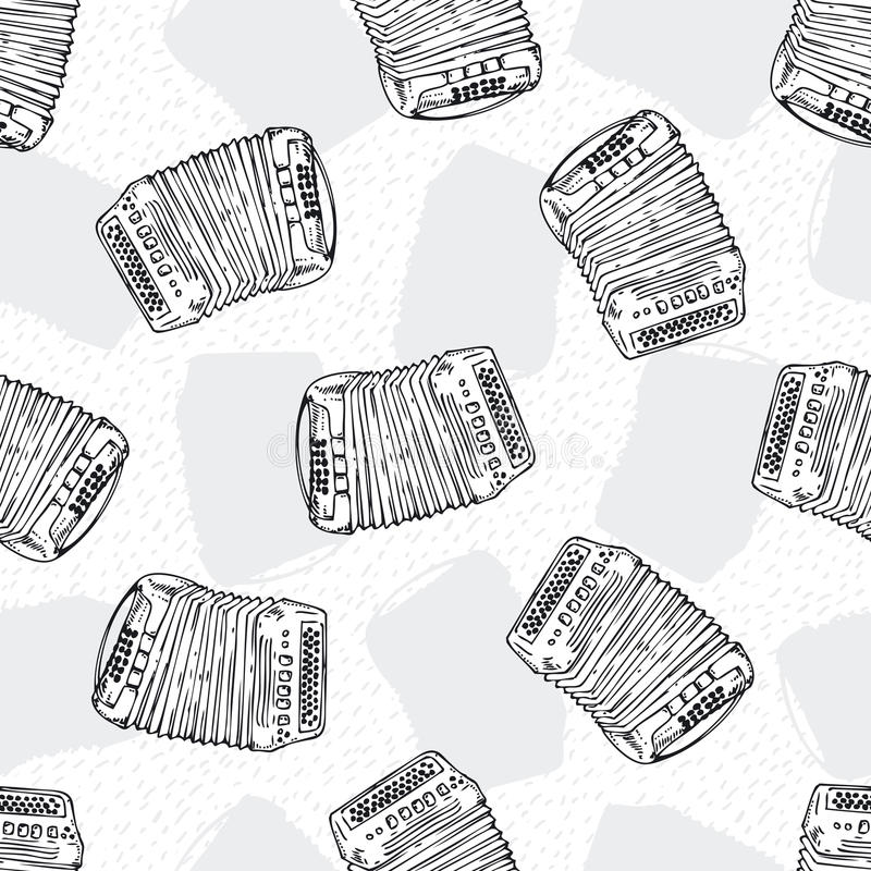 Seamless Pattern. Bayans or Accordions. Black and White Seamless Vector Pattern with Bayans or Accordions. Black Contours on a White Background vector illustration