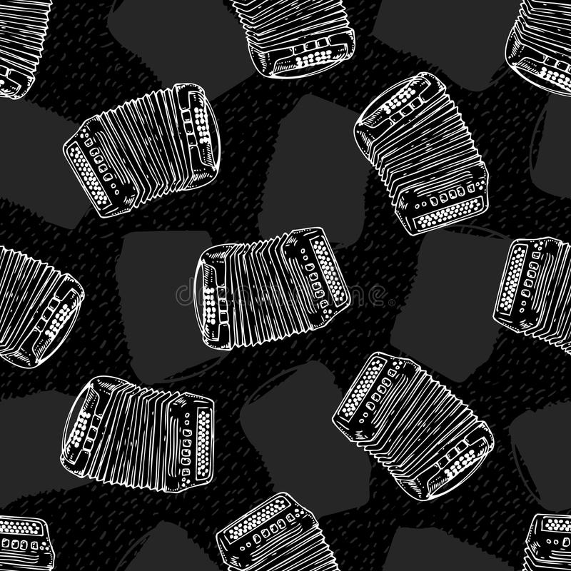 Seamless Pattern. Bayans or Accordions. Black and White Seamless Vector Pattern with Bayans or Accordions. White Contours on a Black Background stock illustration