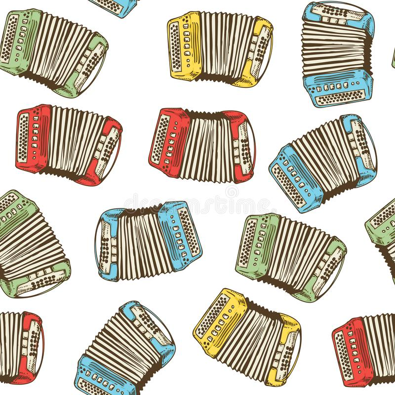 Seamless Pattern. Bayans or Accordions. Seamless Vector Pattern with Colorful Bayans or Accordions on a White Background vector illustration