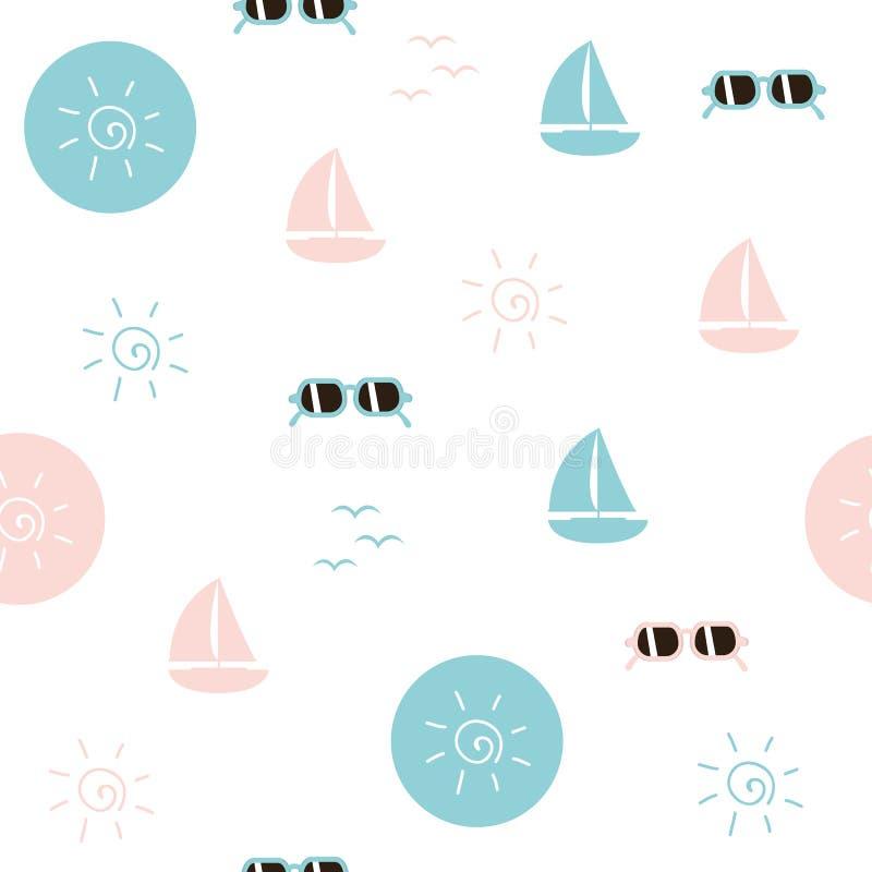Seamless pattern beach life sail boat sunglasses and sun symbol vector illustration