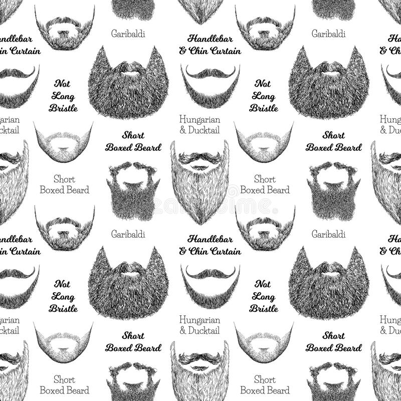 Seamless pattern with beards and mustaches vector illustration