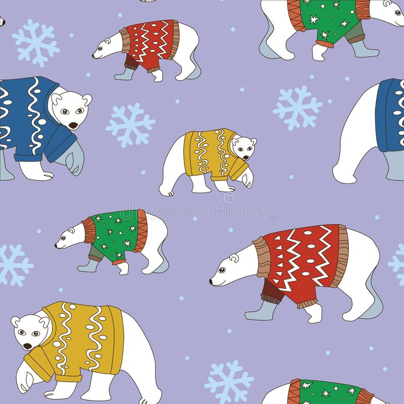 Seamless pattern bears and snowflakes on purple background. Bears in sweaters and snow in purple background stock illustration