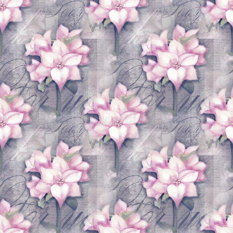 Seamless pattern. Beautiful astromeria flower in the pot with pattern, on grunge shabby background royalty free stock photos
