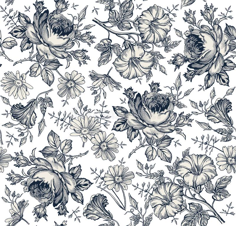 Seamless pattern. Realistic isolated flowers. Vintage background. Chamomile Rose Petunia wildflowers Drawing engraving Vector. Seamless pattern. Beautiful blue vector illustration