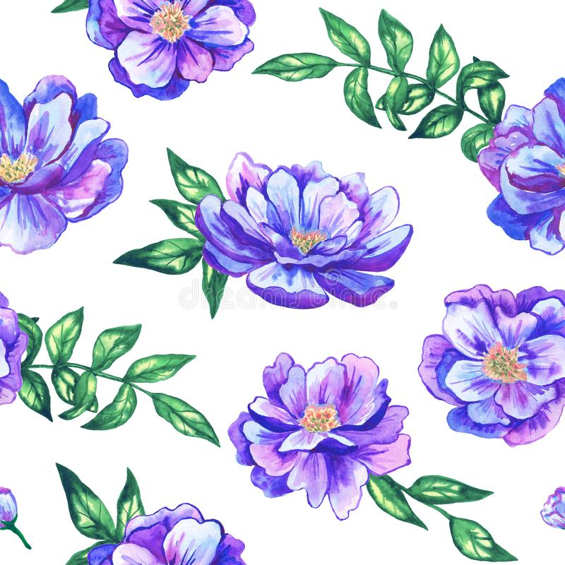 Seamless pattern with beautiful blue violet flowers. Hand drawn watercolor illustration. Texture for print, fabric stock photos