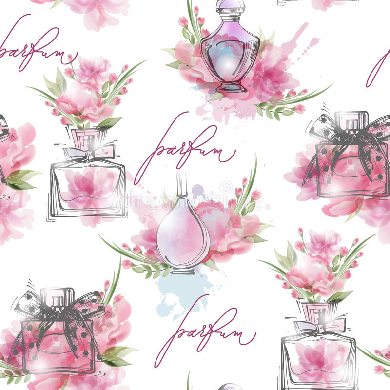 Seamless pattern with beautiful bottles of perfume. Womens perfume. Vector stock illustration