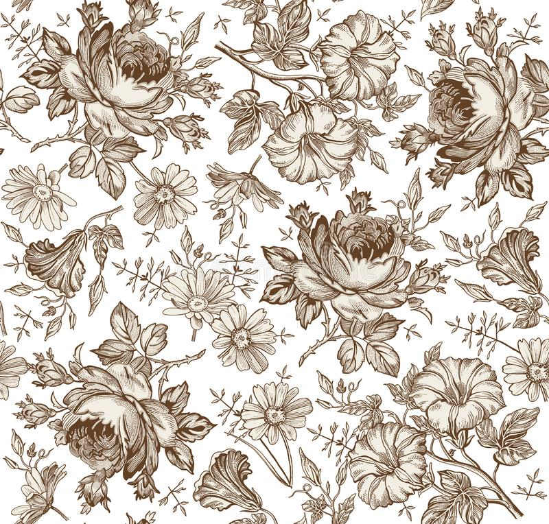 Seamless pattern. Realistic isolated flowers. Vintage background. Chamomile Rose Petunia wildflowers Drawing engraving Vector. Seamless pattern. Beautiful brown royalty free illustration