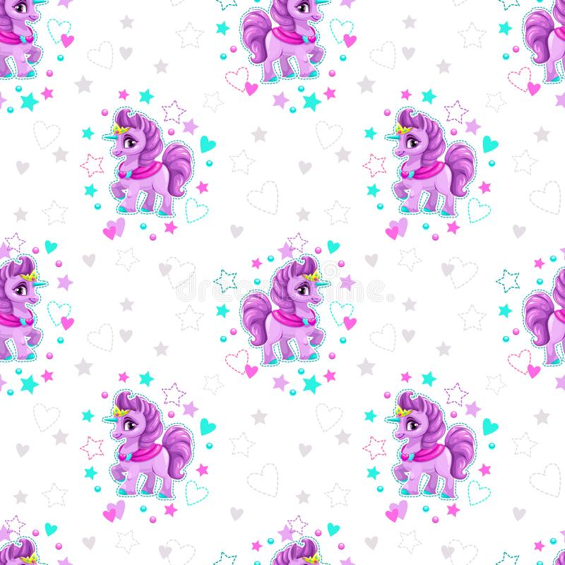 Seamless pattern with beautiful cartoon little unicorn. Princess, stars and hearts on the white background. Pretty girlish print. Vector girlie texture royalty free illustration