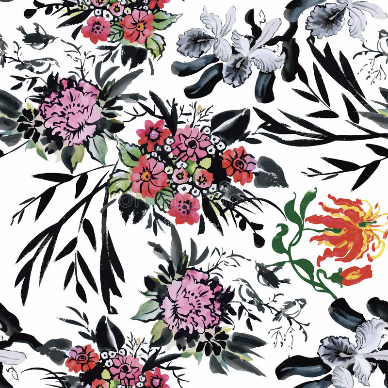 Seamless pattern with Beautiful flowers, Watercolor painting royalty free illustration
