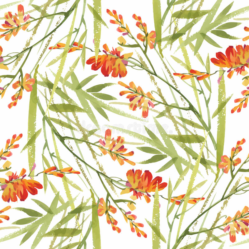 Seamless pattern with Beautiful flowers, Watercolor painting vector illustration