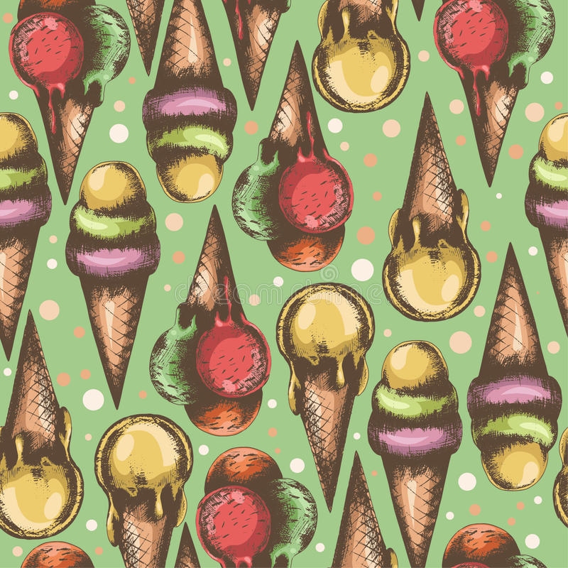 Seamless pattern with beautiful illustrations of ice cream stock photo