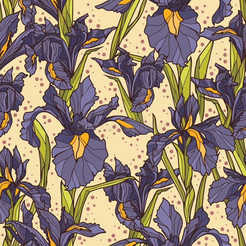 Seamless Pattern With Beautiful Irises Flowers,art Deco Style Stock ...