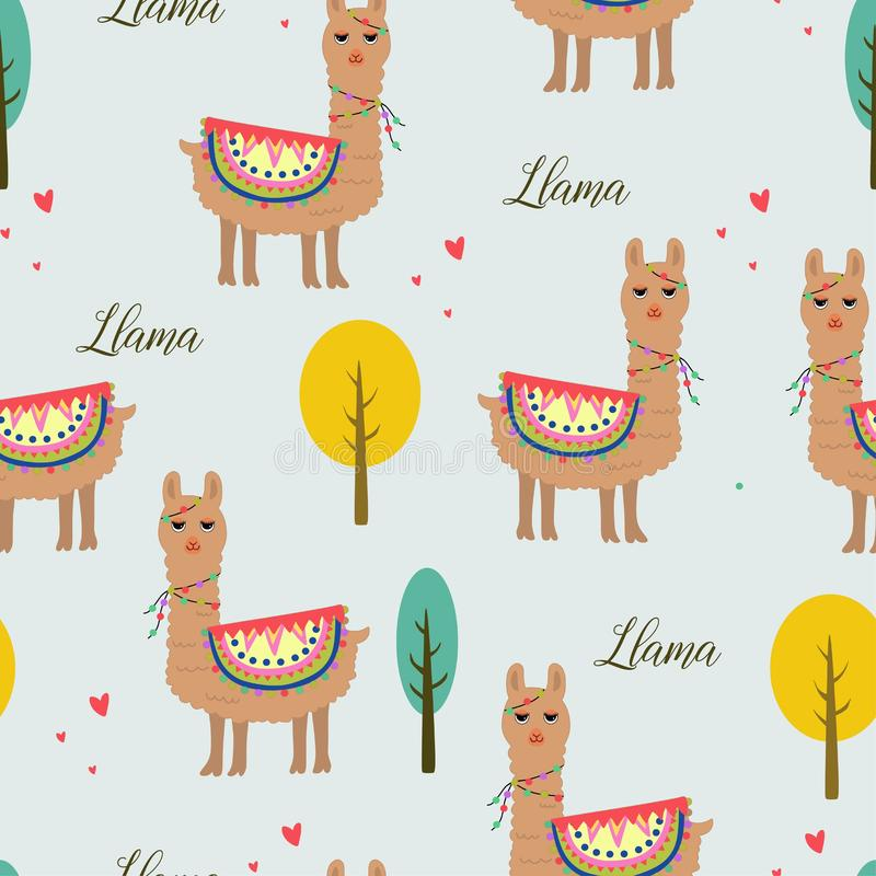 Seamless pattern beautiful llama with tree and love royalty free illustration