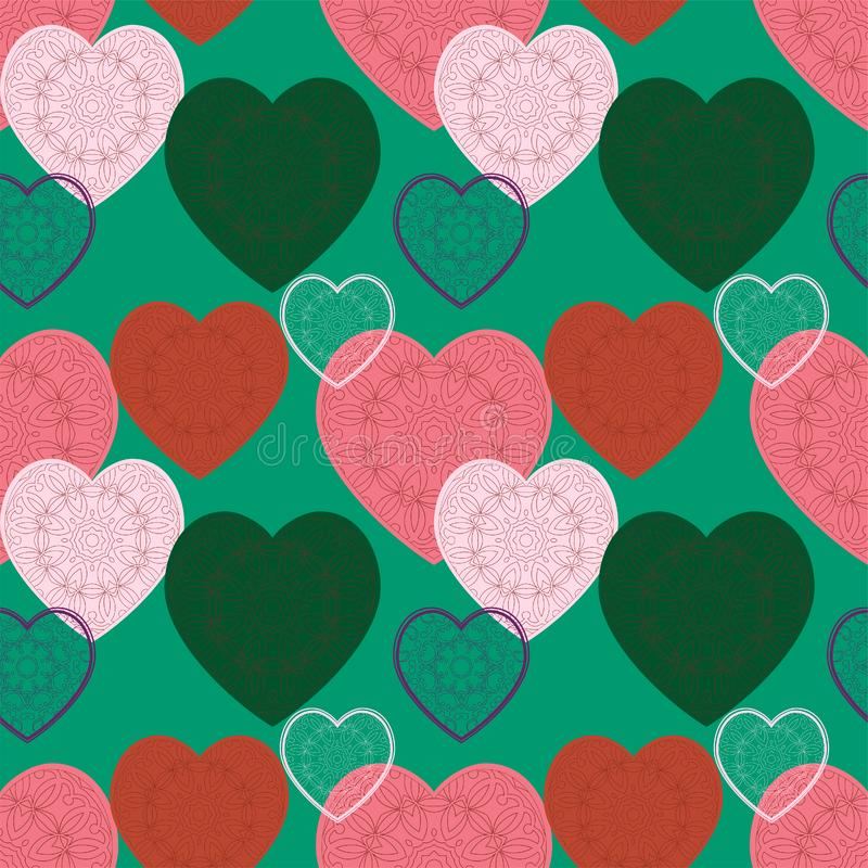Seamless pattern with beautiful ornamental hearts in trendy bright colors. Vector background vector illustration