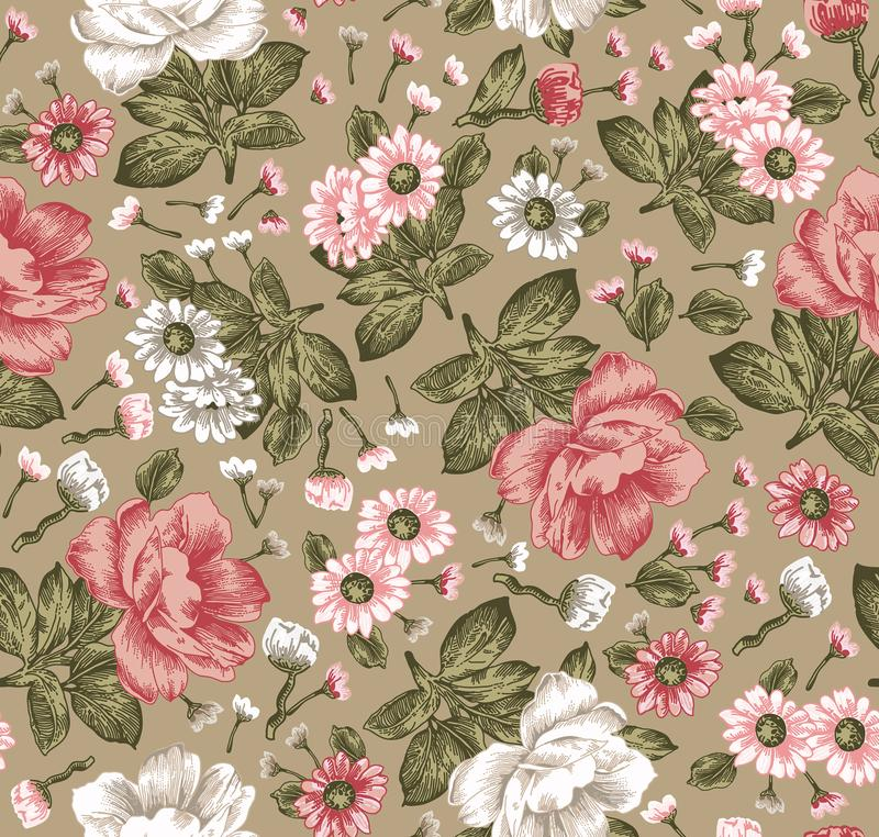 Download Seamless Pattern Beautiful Blooming Realistic Isolated Flowers Vintage Background Chamomile Peony Wallpaper Vector
