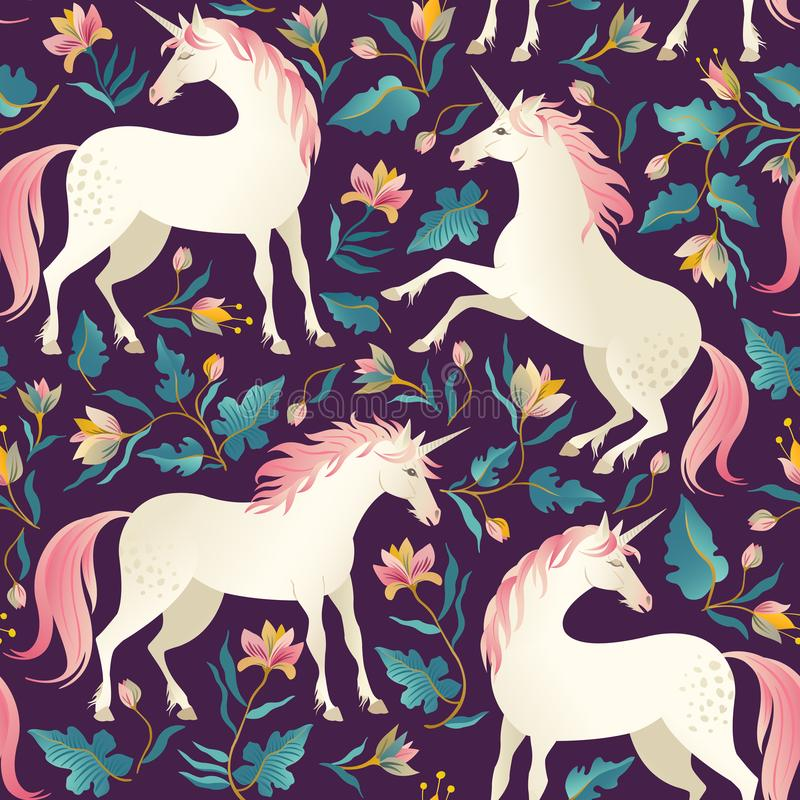 Seamless pattern with beautiful unicorns. Vector magic background for kids design. stock illustration