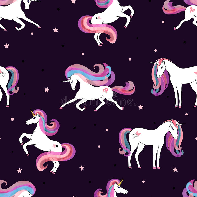Seamless pattern with beautiful unicorns royalty free illustration