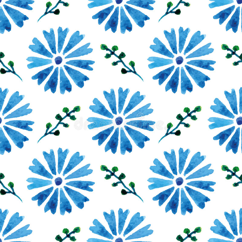 Seamless pattern with beautiful watercolor cornflowers. Blue flowers. Background for your design and decor. royalty free illustration