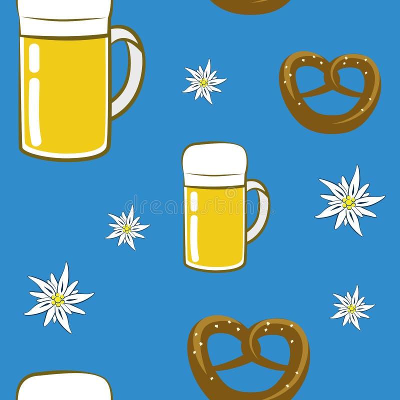 Seamless pattern beer pretzel and edelweiss flower on blue background. Vector illustration EPS10 vector illustration